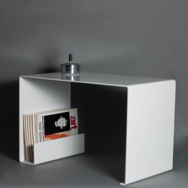 tavolino per salotto | acciaio grezzo piegato con spessore 6 mm | bianco |  tavolino | tavolo | stile Bauhaus | moderno